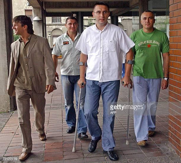 A file photo taken 04 September 2006 shows Dobrosav Gavric Milan Djurisic Stojan Rankovic and Vujadin Krstic walking to the court in Belgrade A...