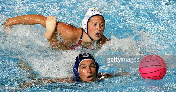 Italy's Silvia Bosurgi vies with Russia's Ekaterina Tankeeva in the women's final of European Water Polo Championship in Tusmajdan pool Belgrade 09...