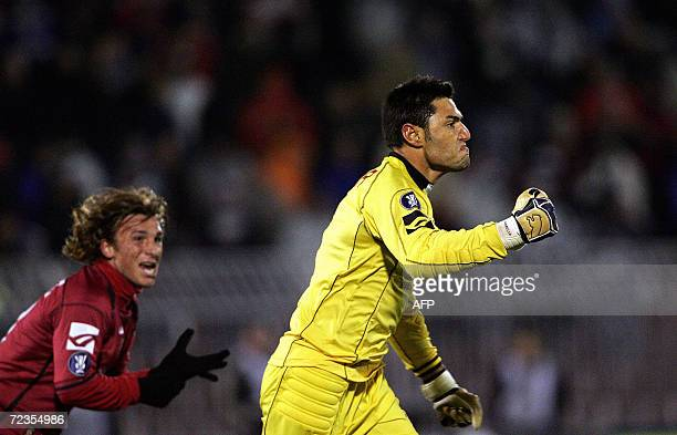 Livorno's goalkeeper Marco Amelia celebrates after scoring a goal against Partizan Belgrade during their UEFA Cup Group A football match in Belgrade...