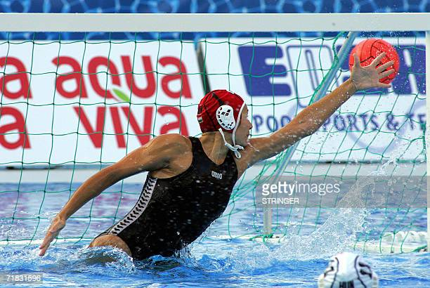 Spain scores a goal against Hungarian goalkeeper Patricia Horvath in Tusmajdan swimming pool of Belgrade 09 September 2006 during a bronze medal...