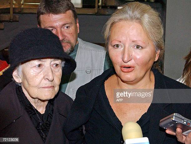 The sister of Zeljko Raznatovic Arkan Jasna Diklic and mother Slavka Raznatovic give a statement following the verdict announcement of the Belgrade...