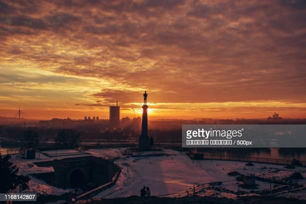 belgrade sunset - serbien stock-fotos und bilder