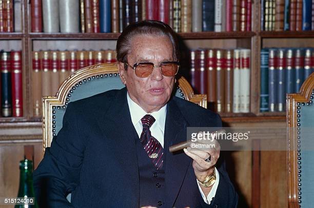 President Tito of Yugoslavia pictured at his studio in Belgrade 10/12/79 during his meeting with Italian president Sandro Pertini