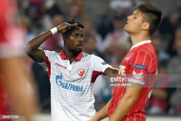 Belgrade's Richmond Boakye cheers over his 0-1 score during the Europa League match between 1.FC Cologne vs. Red Star Belgrade at the...