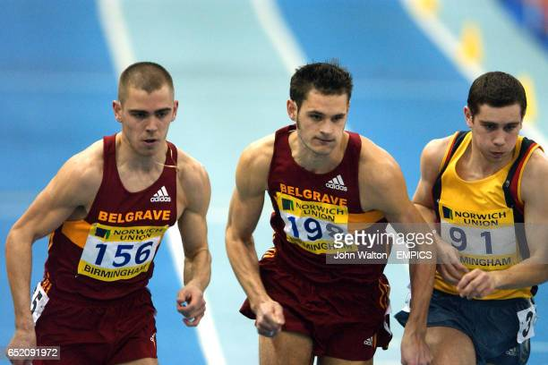 Belgrave Harrier's Chris Moss and Neil Speaight and Basingstoke and Mid Hants Terry Feasey at the start of the Men's 800m Final