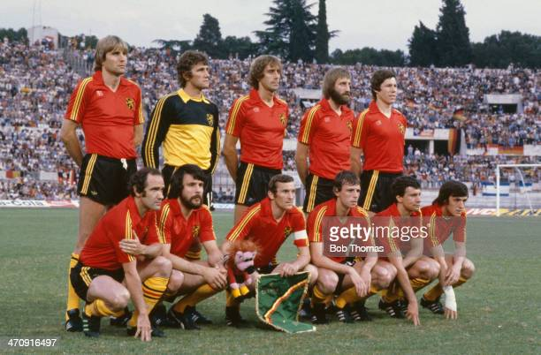 Belguim players line up during the UEFA European Championships 1980 Final between Germany and Belguim held on June 22 1980 at the Stadio Olimpico in...