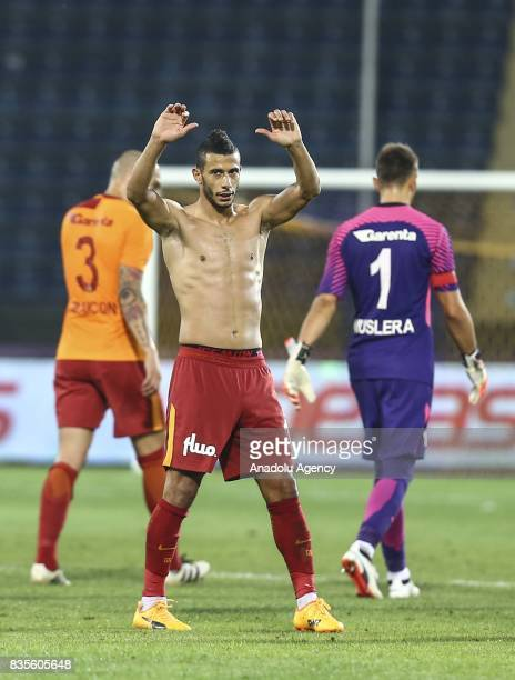 Belhanda of Galatasaray greets supporters after the Turkish Super Lig soccer match between Osmanlispor and Galatasaray at the Osmanli Stadium in...