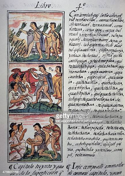 Beliefs and superstitions page from Book IV of the Florentine Codex bilingual version in Spanish and Nahuatl General History of the Things of New...