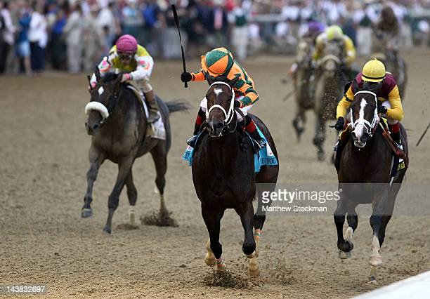 Believe You Can ridden by Rosie Napravnik celebrates after winning the 138th running of the Kentucky Oaks at Churchill Downs on May 4 2012 in...