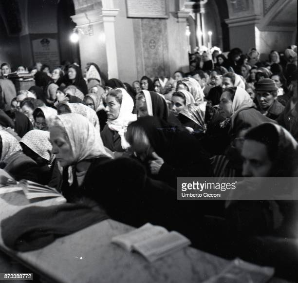 Believers at the Easter Mass celebrated by Padre Pio at the Sanctuary of Saint Pio of Pietrelcina 1957