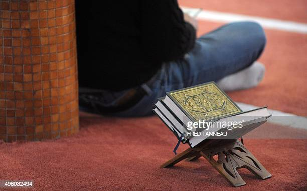 Believers pray at the Sunna Mosque on November 20 2015 in Brest western of France after police has carried out a search into the mosque overnight The...