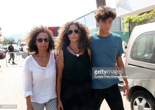 Belinda Alonso and her son Hugo Nieto attend the funeral chapel for former motorcycling world champion Angel Nieto at Tanatorio de Ibiza on August 4...