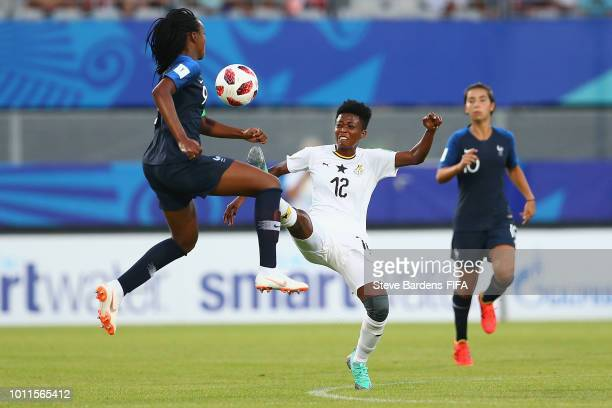 Belinda Anane of Ghana challenges for there ball with MarieAntoinette Katoto of France during the FIFA U20 Women's World Cup France 2018 group A...