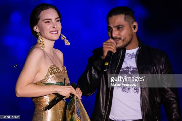 Belinda and Espinoza Paz perform during the final event of the 2018 Presidential Campaign at Azteca Stadium on June 27 2018 in Mexico City Mexico