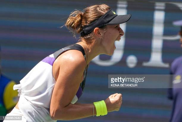 Belinda Bencic from Switzerland celebrates her win over Donna Vekic of Croatia during their Women's Singles Quarterfinals match at the 2019 US Open...