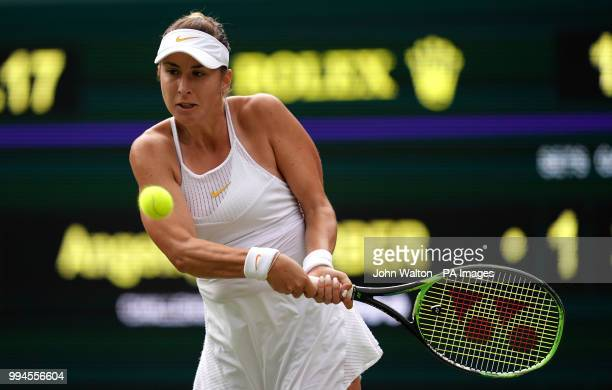 Belinda Bencic in action on day seven of the Wimbledon Championships at the All England Lawn Tennis and Croquet Club Wimbledon