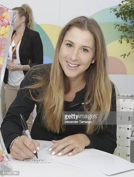 Belinda Bencic is seen during the Miami Open Media Day at Crandon Park Tennis Center on March 22 2016 in Key Biscayne Florida