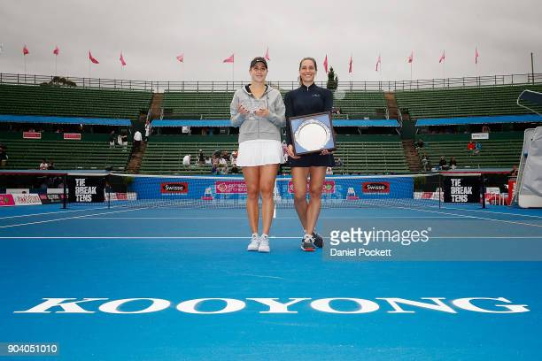 Belinda Bencic of Switzerland and Andrea Petkovic of Germany pose for a photo after defeating Andrea Petkovic of Germany in the Women's Singles Final...