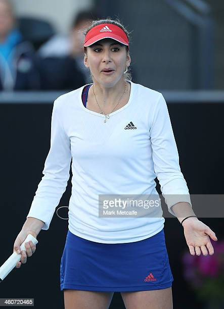 Belinda Bencic of Switzerland appeals a decision in her exhibition match with Martina Hingis of Switzerland during day one of the Moorilla Hobart...