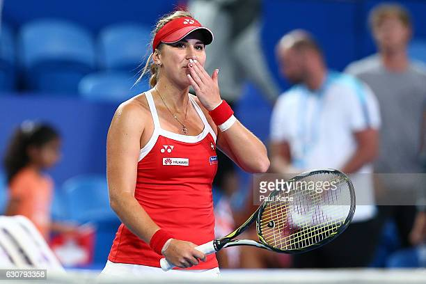 Belinda Bencic of Switzerland blows a kiss to the crowd after winning the women's singles match against Heather Watson of Great Britain on day two of...