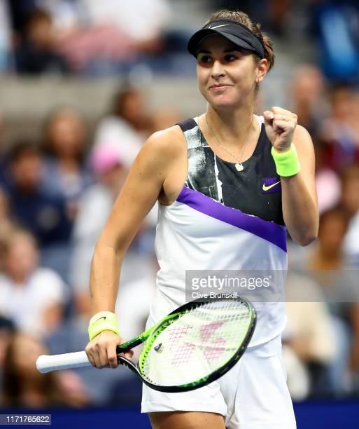 Belinda Bencic of Switzerland celebrates after winning first set during her Women's Singles fourth round match against Naomi Osaka of Japan on day...