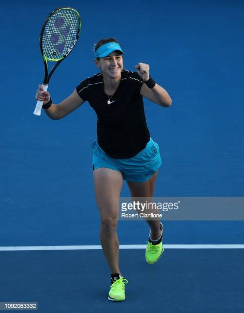 Belinda Bencic of Switzerland celebrates after winning her quarter final match against Dayana Yastremska of the Ukraine during day six of the 2019...