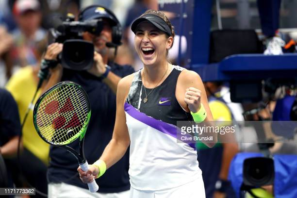 Belinda Bencic of Switzerland celebrates after winning her Women's Singles fourth round match against Naomi Osaka of Japan on day eight of the 2019...