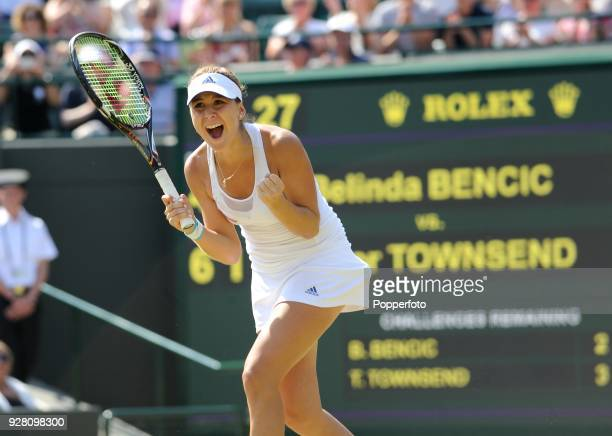 Belinda Bencic of Switzerland celebrates her victory over Taylor Townsend of the USA in three sets in the Girls' Singles Final at Wimbledon on July 6...