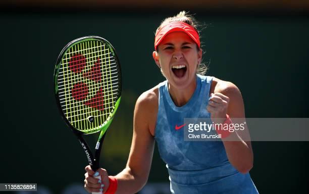 Belinda Bencic of Switzerland celebrates match point against Karolina Pliskova of the Czech Republic during their women's singles quarter final match...