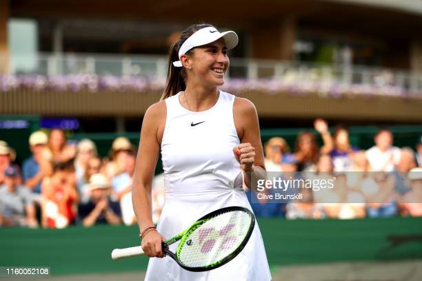 Belinda Bencic of Switzerland celebrates victory in her Ladies' Singles second round match against Kaia Kanepi of Estonia during Day four of The...