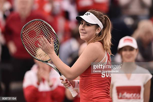 Belinda Bencic of Switzerland celebrates victory in her match against Andrea Petkovic of Germany during Day 1 of the 2016 Fed Cup World Group First...