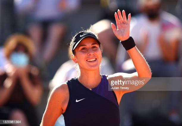 Belinda Bencic of Switzerland celebrates victory in their ladies singles first round match against Nadia Podoroska of Argentina on day two of the...