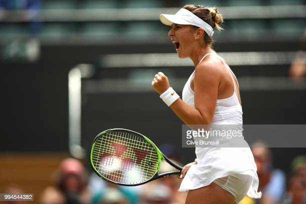 Belinda Bencic of Switzerland celebrates winning a point against Angelique Kerber of Germany during their Ladies' Singles fourth round match on day...