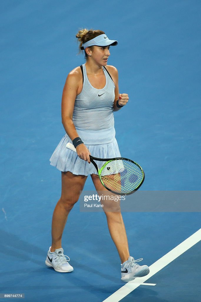 Belinda Bencic of Switzerland celebrates winning her 2018 Hopman Cup match against Naomi Osaka of Japan at Perth Arena on December 30, 2017 in Perth, Australia.