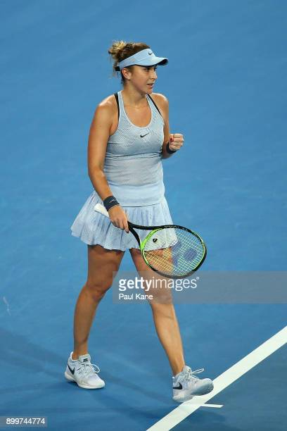 Belinda Bencic of Switzerland celebrates winning her 2018 Hopman Cup match against Naomi Osaka of Japan at Perth Arena on December 30 2017 in Perth...