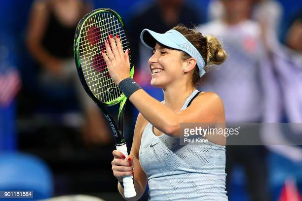 Belinda Bencic of Switzerland celebrates winning her singles match against CoCo Vandeweghe of the United States on day six of the 2018 Hopman Cup at...