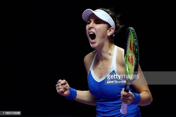 Belinda Bencic of Switzerland celebrates winning the first set over Elina Svitolina of Ukraine during their Women's Singles semifinal match on Day...