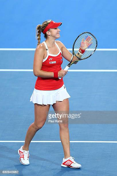 Belinda Bencic of Switzerland celebrates winning the women's singles match against Andrea Petkovic of Germany during on day four of the 2017 Hopman...
