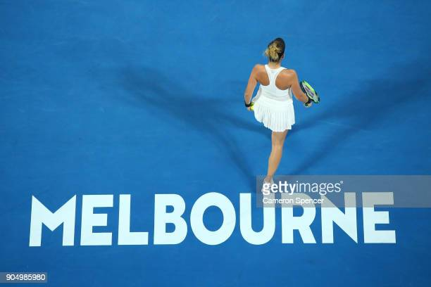 Belinda Bencic of Switzerland during her first round match against Venus Williams of the United States on day one of the 2018 Australian Open at...