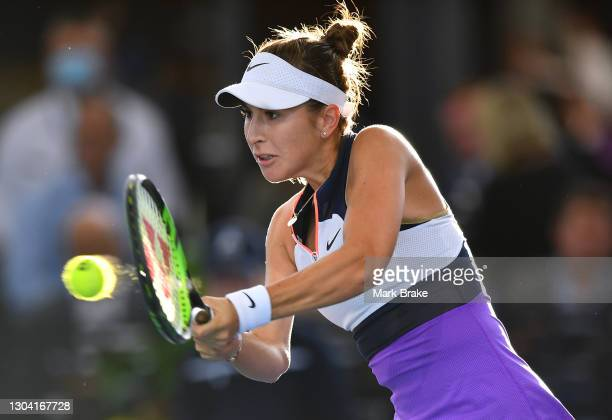 Belinda Bencic of Switzerland hits a backhand against Coco Gauff of the USA during day five of the Adelaide International WTA 500 at Memorial Drive...