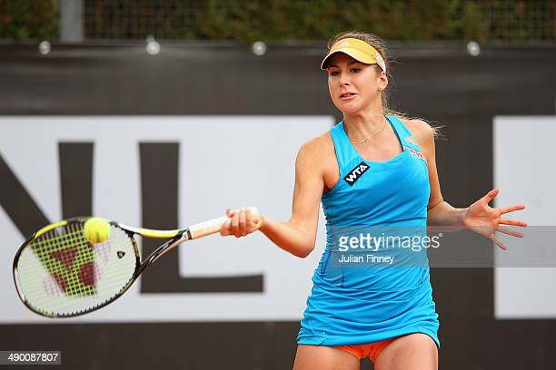 Belinda Bencic of Switzerland in action against Anastasia Pavlyuchenkova of Russia during day three of the Internazionali BNL d'Italia tennis 2014 on...
