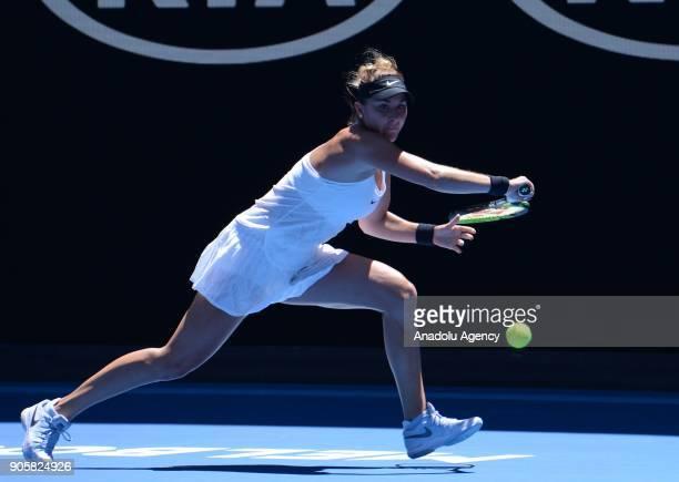 Belinda Bencic of Switzerland in action against Luksika Kumkhum of Thailand during Women's single match on the third day of 2018 Australian Open at...
