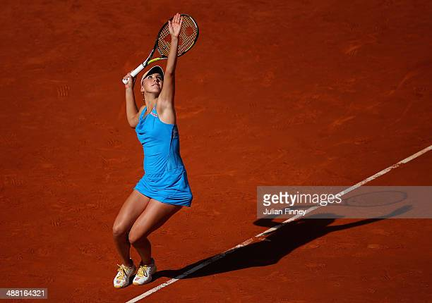 Belinda Bencic of Switzerland in action against Serena Williams of USA during day two of the Mutua Madrid Open tennis tournament at the Caja Magica...