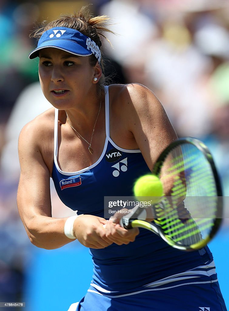 Belinda Bencic of Switzerland in action during her match with Agnieszka Radwanska on day seven of the Aegon International at Devonshire Park on June 27, 2015 in Eastbourne, England.