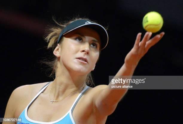 Belinda Bencic of Switzerland in action during the tennis match against Carla Suarez Navarro of Spain at WTATennis tournament in Stuttgart Germany 23...