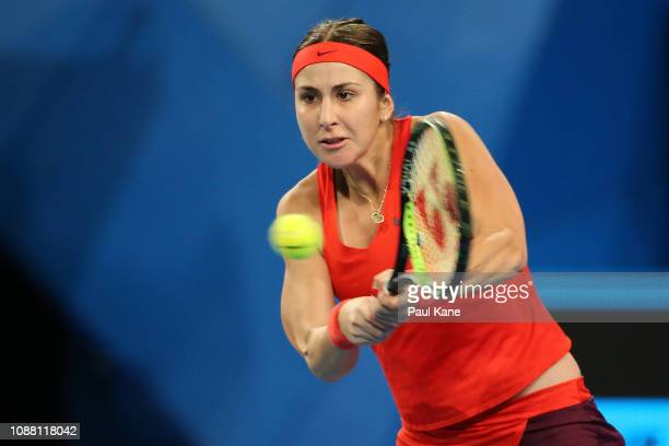 Belinda Bencic of Switzerland plays a backhand to Katie Boulter of Great Britain during day two of the 2019 Hopman Cup at RAC Arena on December 30...