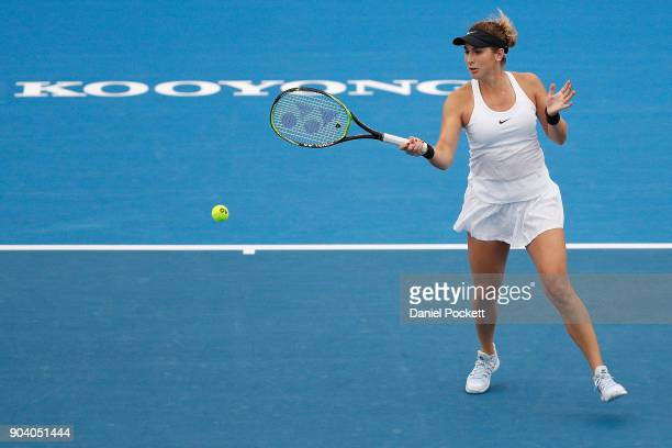 Belinda Bencic of Switzerland plays a forehand against Andrea Petkovic of Germany during day four of the 2018 Kooyong Classic at Kooyong on January...