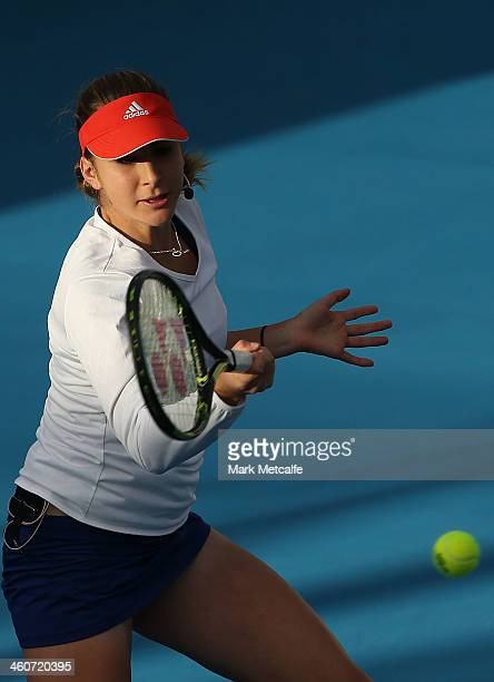 Belinda Bencic of Switzerland plays a forehand in her exhibition match with Martina Hingis of Switzerland during day one of the Moorilla Hobart...