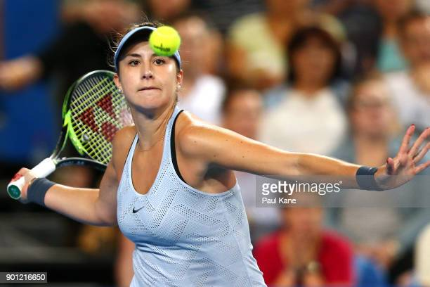 Belinda Bencic of Switzerland plays a forehand in her singles match against CoCo Vandeweghe of the United States on day six of the 2018 Hopman Cup at...