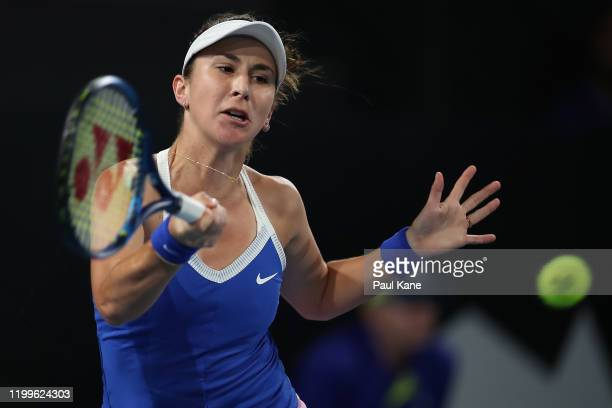 Belinda Bencic of Switzerland plays a forehand to Julia Georges of Germany during day four of the 2020 Adelaide International at Memorial Drive on...